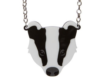 Badger necklace - laser cut acrylic