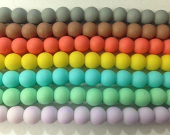 8mm rubber coated  round glass pearl , new colors