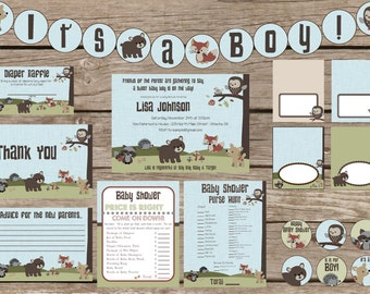 """Forest Friends Baby Shower Invitation plus 2 """"extras"""" - Printable"""