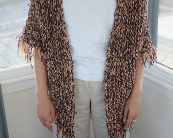 One of its kind Hand knitted shawl with fringes