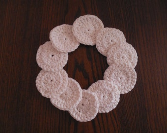Cotton Facial Rounds (set of 10) in Cream or White, makeup pads, washable facial rounds, reusable cotton rounds, crocheted face scrubbies