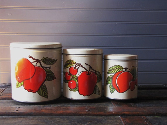 Vintage Mid Century Red Apple Decoware Kitchen Canisters / Farmhouse / Country Kitchen