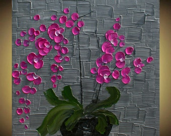 Original Pink Orchids   Flowers in Vase  Handpainted   Acrylic Impasto Painting. Size 24 x 24.Made2Order.