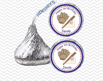 Baseball - Personalized Hershey Kiss Stickers, Hershey Kiss Labels, Party Favors, Favor Sticker