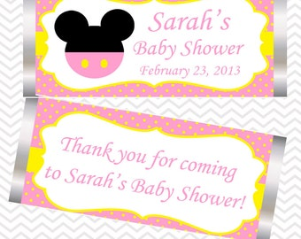 Pink Minnie Mouse Head  - Personalized Candy Bar Wrapper