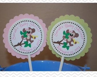Pink Monkey Cupcake Toppers - Set of 12 Personalized Birthday Baby Shower Decorations