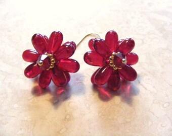 Brilliant Red Blossom Earrings