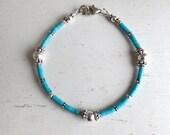 Sterling Silver Turquoise Heishe Bracelet