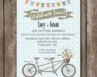 Bicycle for Two: Couple's Shower Invite//Digital File/Bridal Shower