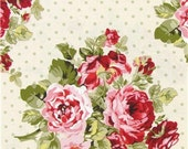 Reserved Listing- 6 yards Floral & Dots Cream Shabby Chic fabric
