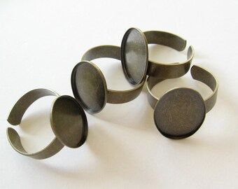 SALE! 50 brass ox adjustable ring settings 18x13mm