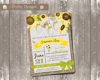 Rustic Sunflower Bridal/Baby Shower Invitation (Burlap, Butterflies) DIGITAL FILE
