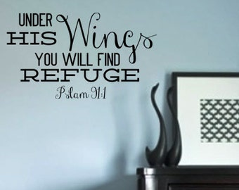Under His Wings You Will Find Refuge Psalm 91:1 Vinyl wall art