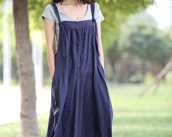 Linen Pinafore Dress - Blue Long Suspender Dress and Bud Shape Skirt Loose-Fitting Maxi Dress C278