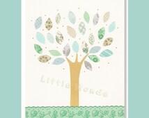 Baby Girl Nursery Prints, Nursery Art, Turquoise, Nursery, NurseryTree, French Nursery, Pastel Blue, Green, Cream