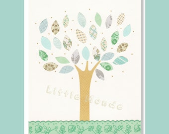 Baby Girl Nursery Prints, Nursery Art, Turquoise, Nursery, NurseryTree, French Nursery, Pastel Blue, Green, Cream