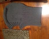 Hand knitted pure wool balaclava in grey/khaki shade