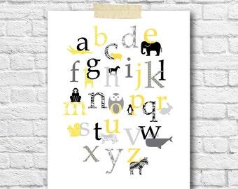 Modern kids room wall art gray yellow baby nursery decor animal alphabet poster kids prints gift