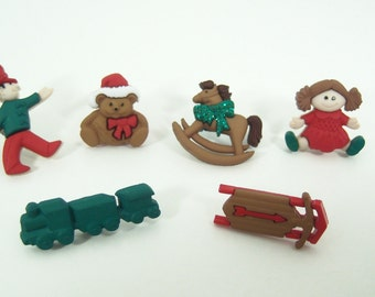 Christmas Toys Push Pins or Magnets