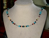 PRICE CUT Multi Colored Necklace Bracelet and Earrings Set Garnets Amazonite Ethiopian Opals and Sterling