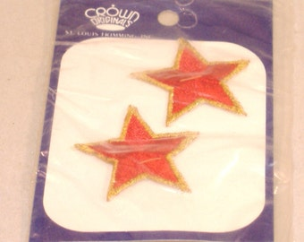 Vintage Embroidered Red Star Applique, Gold Edge, Set of 2 - from St. Louis Trimming NIP - Destash