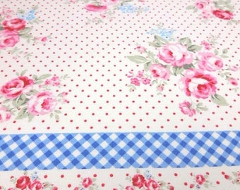SALE Japanese Fabric LECIEN Flower Sugar maison Check Offwhite Fat Quarter