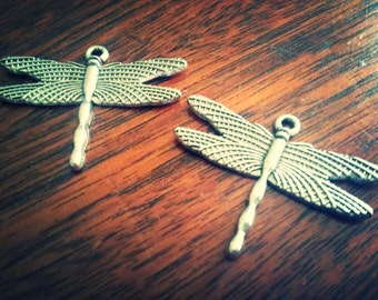 Dragonfly Charms Dragonfly Pendants Silver Dragonfly Charm Steampunk Dragonfly Spring Charms Steampunk Pendants BULK Charms 50pcs