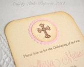 Pink Cross Invitation - Vintage Style Christening Baptism Invitations