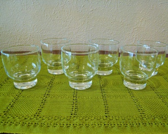 Set of 6 Eva Zeisel Designed for Federal Glass - STOCKHOLM - 8 oz Old Fashioned Drinking Glasses - Mid Century Modern Bar Ware Stackable