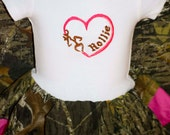 Monogramed Infant Buck Dress with Head band!