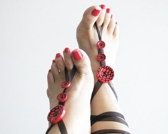 Footless sandals, Black red & Button barefoot sandals - Summer - Footwear - nude shoes, Ethno Boho Foot Jewelry, yoga, beach