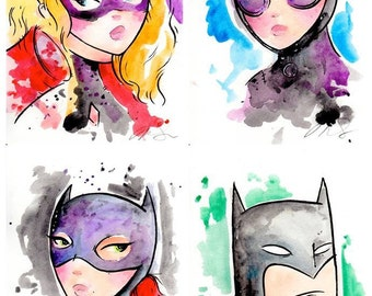 4 Print Set with Batman, Harley Quinn, Batgirl and Catwoman. 5x7 inches, DC Comics inspired.