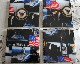 Coasters - Tile - Navy