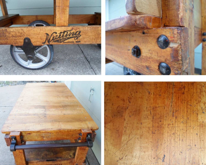Industrial Factory Kitchen Island Railroad Rocker Cart