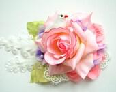 romantic rose, bridal hair comb, weddings hair accessories, bridal bridesmaids headpiece, shabby chic, pastel, pale pink, bridal sash