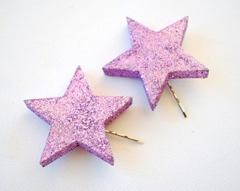 glitter stars bobby pins, girl hair clip, photo prop, new year, disco, birthday party, twinkle, sparkle, lavender, lilac, purple, weddings