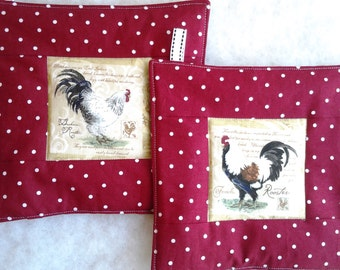 Rooster Potholders with Crimson Red Polka Dot Border