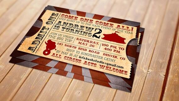 Circus Vintage Printable Invitation - Birthday,