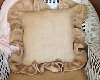 Burlap ruffled throw pillow, throw pillow, decorative pillow