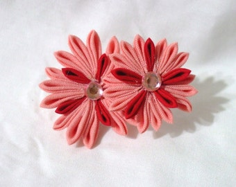 Pink and red dianthus - kanzashi flower