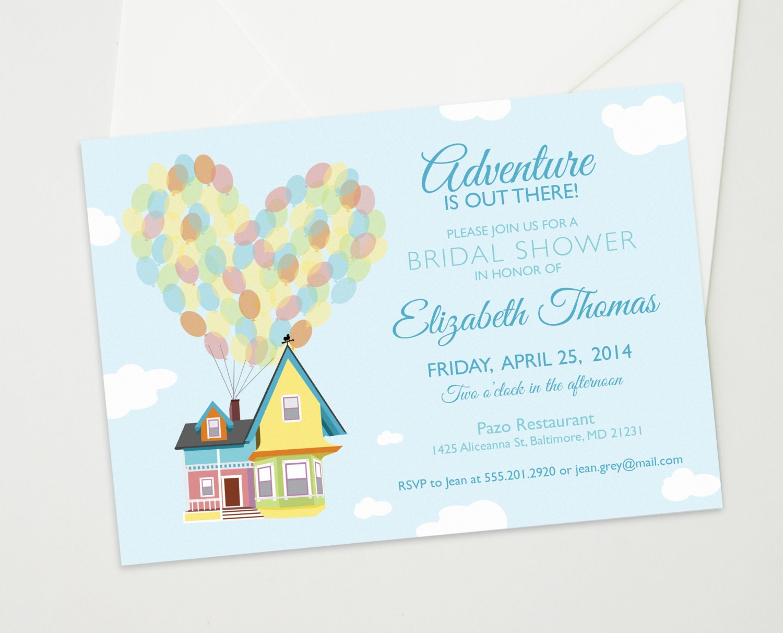 Up Themed Wedding Invitations: Disney UP Wedding Bridal Or Baby Shower Custom By TheInkedLeaf