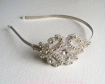 1920s Flapper Bridal Headband - bridal headband, 1920s crystal headband bridal hair accessories, headpiece SILVER ROUND
