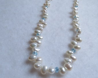 """White freshwater pearl with light blue crystal rondelle accented 18"""" Necklace"""