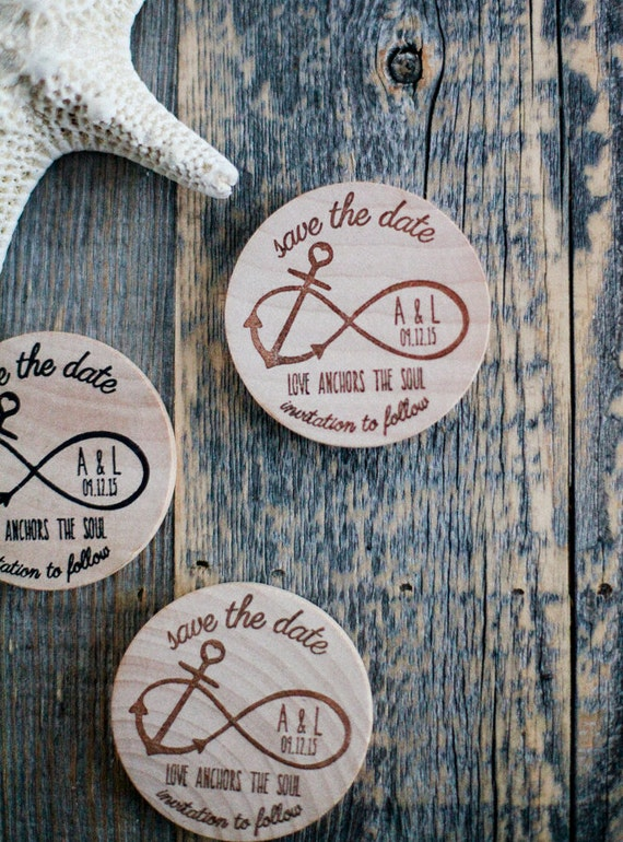 100 Custom Nautical Infinity Anchor Wood Save the Date Invite Wedding Magnet Favors