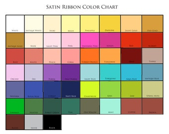 RIBBON  Color Chart by White Gown Wedding Invitations