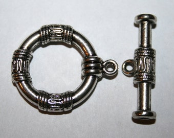 2 Large Antique Silver Bali Style Toggle Clasps
