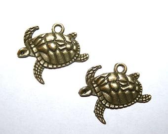 20 Antique Bronze Sea Turtle Charms/Pendants