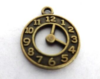 5 Antique Bronze Double Sided Clock Charms/Pendants
