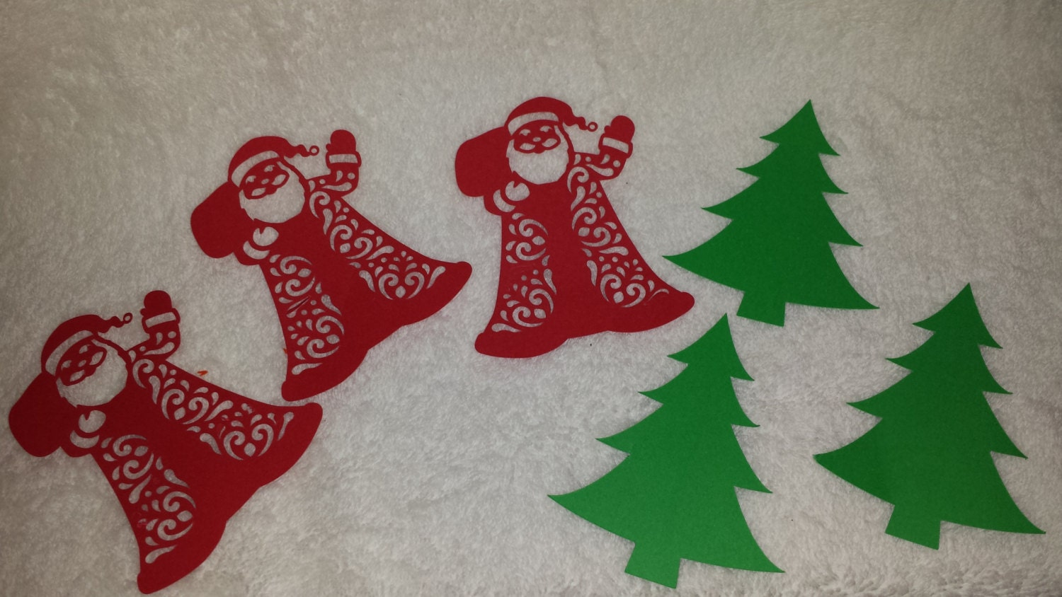 Christmas Tree And Santa Paper Cut-outs By Yourgalfridayfl