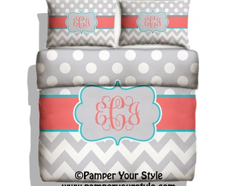 Polka dot and Chevron Duvet with Matching Sham(s)  Personalize with Name or Monogram - Pick Your Color and Size - Create My Own Bedding
